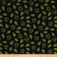 QT Fabrics Jungle Buddies Leaves Black