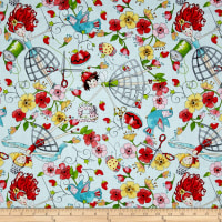 The Quilted Cottage Tossed Sewing Fairies Light Turquoise