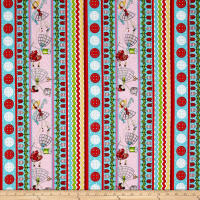 QT Fabrics  The Quilted Cottage Sewing Fairies Decorative Stripe Multi