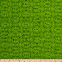 QT Fabrics  The Quilted Cottage Sewing Words Lime