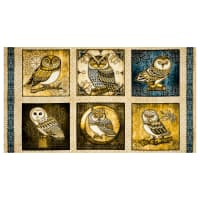 "QT Fabrics Where The Wise Thing Owl Picture Patches 24"" Panel Cream"