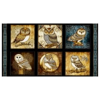 "QT Fabrics Where The Wise Thing Owl Picture Patches 24"" Panel Black"