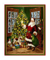 "Christmas Eve Santa & Christmas Tree 36""Panel Metallic Gold/Multi"