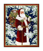 "QT Fabrics Christmas Eve Vintage Santa 36"" Panel Metallic Gold/ Multi"