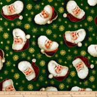 QT Fabrics Christmas Eve Santa Head Toss Metallic Gold/Forest