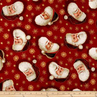 QT Fabrics Christmas Eve Santa Head Toss Metallic Gold/Red