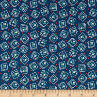 Harlow Floral Squares Navy