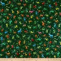 QT Fabrics Holiday Minis Reindeer Forest