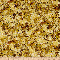 QT Fabrics Labrador Able Leaves Light Gold