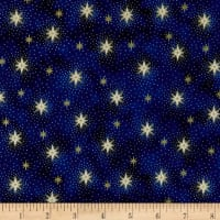 QT Fabrics Miracle In Bethlehem Sparkling Stars Gold Metallic/Navy