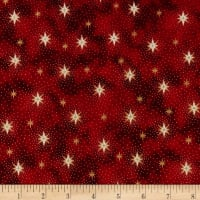 QT Fabrics Miracle In Bethlehem Sparkling Stars Gold Metallic/Red