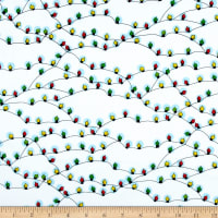 QT Fabrics Peanuts Peace*Love*Joy Christmas Lights White