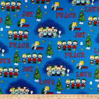 QT Fabrics Peanuts Peace*Love*Joy Peace Love Joy Caroler Vignettes Denim