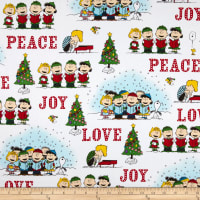 Peanuts Peace*Love*Joy Peace Love Joy Caroler Vignettes White