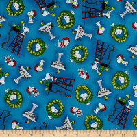QT Fabrics Peanuts Peace*Love*Joy Snoopy & Woodstock Christmas Toss Blue