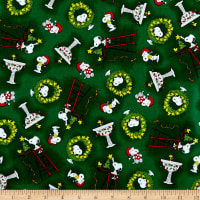 QT Fabrics Peanuts Peace*Love*Joy Snoopy & Woodstock Christmas Toss Dark Green