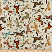 QT Fabrics  Southwest Soul Painted Horses Cream