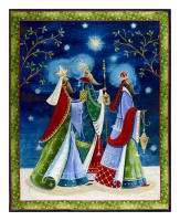 "QT Fabrics  Three Wise Men Midnight 36"" Panel Gold Metallic/Blue"