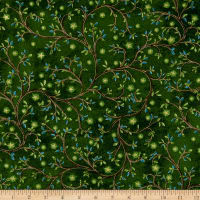 QT Fabrics  Three Wise Men Leaf Vine & Stars Gold Metallic/Green