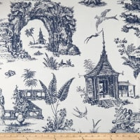 Covington Secret Garden Toile Indoor/Outdoor Denim