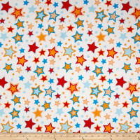 Double Brushed Jersey Knit Multi Stars on Ivory