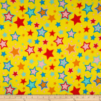 Double Brushed Jersey Knit Multi Stars on Bright Yellow