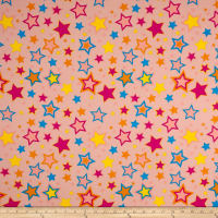 Double Brushed Jersey Knit Multi Stars on Peach