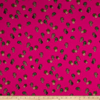 Double Brushed Jersey Knit Pineapples on Hot Pink