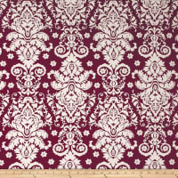 Double Brushed Jersey Knit Damask Floral Ivory/Wine