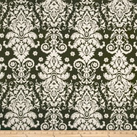 Double Brushed Jersey Knit Damask Floral Ivory/Olive