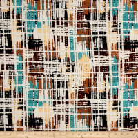 Double Brushed Jersey Knit Abstract Stripes Brown/Teal