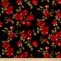 Double Brushed Jersey Knit English Roses Black/Red