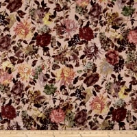 Double Brushed Jersey Knit Floral Garden Brown/Cream