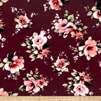 Double Brushed Jersey Knit English Floral Coral/Wine