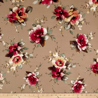 Double Brushed Jersey Knit English Floral Coral/Brown