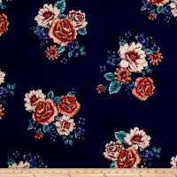 Double Brushed Jersey Knit Floral Bouquet Blue/Aqua on Navy