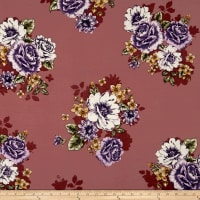 Double Brushed Jersey Knit Floral Bouquet Purple/Ivory on Mauve