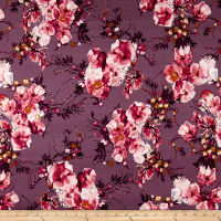 Double Brushed Jersey Knit English Floral Pink on Lilac