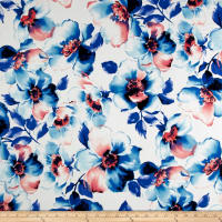 Double Brushed Jersey Knit Watercolor Floral Blue