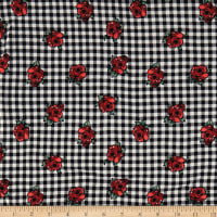 Double Brushed Jersey Knit Plaid and Roses Black/White