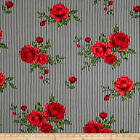 Double Brushed Jersey Knit Stripes and Roses Red/Black