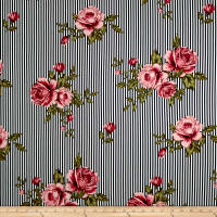 Double Brushed Jersey Knit Stripes and Roses Mauve/Black