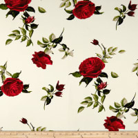 Double Brushed Jersey Knit English Roses Red on Ivory