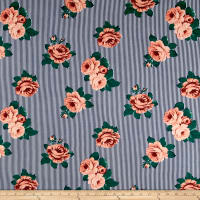 Double Brushed Jersey Knit Stripes and Roses Coral/Navy
