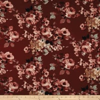Double Brushed Jersey Knit Enlgish Floral Wine