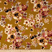 Double Brushed Jersey Knit Floral Mustard