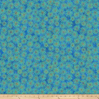 Shimmer Oasis Metallic Flowers Blue
