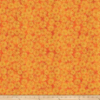 Shimmer Oasis Metallic Flowers Orange