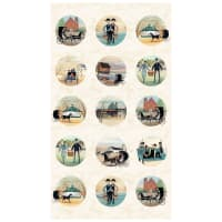 "Amish Life Digital Large Circles 24"" Panel Cream"