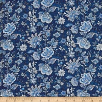 Peacocks In Blue Paisley Floral Blue/White